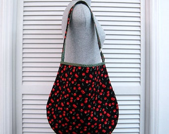 SHOP CLOSING Sale-Cherry Clusters-Custom Quilted-Hobo/Slouch/Shoulder/Tote Bag/Purse-Roomy Inside-Space for Tablet-Handmade-Original Pattern