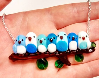 7 Sweet Bluebirds Snuggling on a Branch, Lampworked Glass Bead