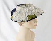 Vintage 1950s Hat Navy Blue Straw Platter with White Silk and Velvet Flowers