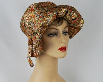 Vintage Hat Gold Paisley Ruffle Cloche by Milbrae Sz 22