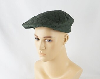 Vintage 1950s Mans NOS Forest Green Quilted Nylon Workwear Flat Cap with Tags Sz 7 1/8
