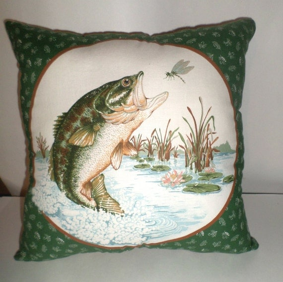Man Cave Pillow With Cup Holder : Large mouth bass pillow big throw by