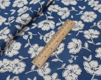 4215 - Cath Kidston Mono Poppies (Dark Blue) Cotton Canvas Fabric - 57 Inch (Width) x 1/2 Yard (Length)