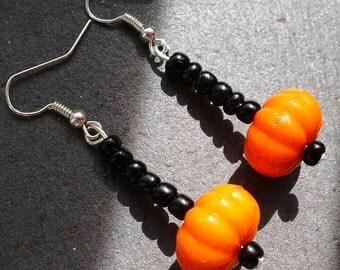 Long Pumpkin Earrings, Orange Dangle Earrings, Pumpkin Earrings, Fall Earrings, Orange Earrings, Halloween Earrings, Pumpkin Jewelry,  Gift