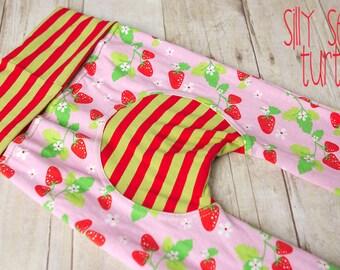 Maxaloones, Red Strawberries, cloth diaper pants, grow with me pants, babywearing pants