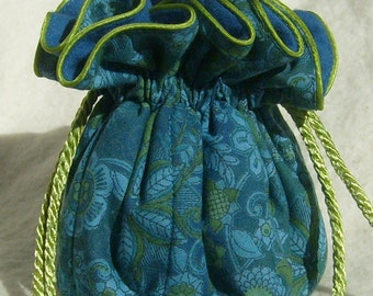 Anti Tarnish Jewelry Pouch Bag in blue and green Serenity