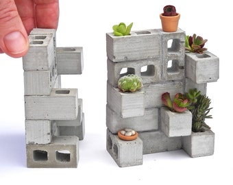 Miniature Cinderblock Planter, Made in the USA, Includes Plants,  Wee Pot, Care Instructions, Handmade, Exclusive, Dollhouse Miniature