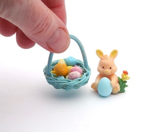 Miniature Easter Bunny with Eggs and Basket for a Miniature Garden Egg Hunt, Fairy Garden Decor or Terrarium, Sweet