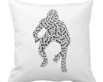 Personalized Wrestler Wrestling 20 x 20 Pillow Cover Room Decor
