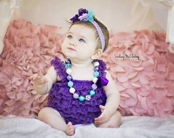 Cake Smash Outfit Girl Purple Lace Romper Headband Necklace SET Baby Pettiromper  Baby Ruffle Romper  Baby Outfit, Baby Photo