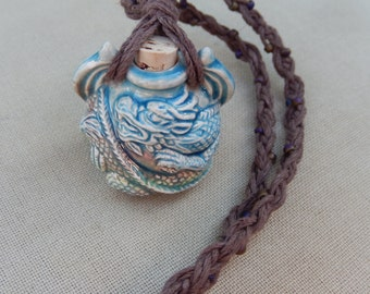 Ceramic Dragon Bottle with Glass and Hemp Necklace - Natural Bohemian