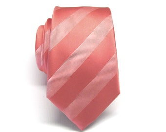 Coral Stripes Mens Necktie with Matching Pocket Square Option. Wedding Ties.