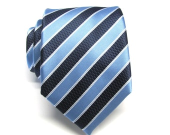 Mens Ties. Necktie Navy Blue Periwinkle Blue Stripes Silk Necktie