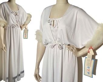 Vintage 70s White Dress Gown & Marabou Bolero Jacket NOS - M