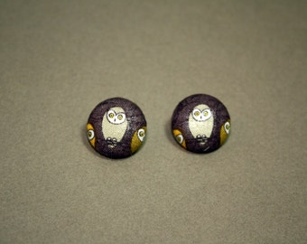 Beige Owls Button Earrings - Post Fabric Covered Studs