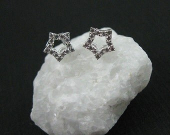 Sterling Silver Earrings,CZ Cubic Zirconia Star Earring Studs,CZ Star Earrings, Silver Earwire,Star Charm Earrings-6mm( 1 pair ) SKU: 203054