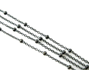 Oxidized Chains -Sterling Silver Beaded chain, Satellite Chain,Unfinished Bulk Chain by the foot-Cable link with Tiny Ball- SKU: 101006-OX