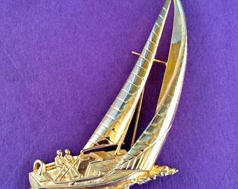 Large Vintage Jonette Jewelry Gold Tone Sail Boat Brooch Pin Nautical Sailing Ocean Beach Sailboat Regatta