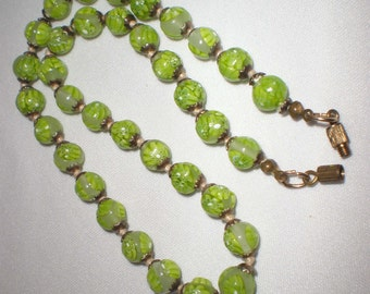 Vintage Green Glass Necklace Knotted Between Barrel Clasp