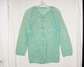 On hold for Suzy Vintage 60s Green Blue Mohair Button Up Cardigan Sweater S Ladies