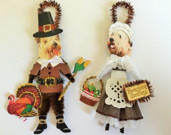 Wheaten Terrier THANKSGIVING PILGRIM ornaments Dog ornaments vintage style chenille ORNAMENTS set of 2