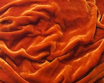 Golden Orange HAND DYED Silk Velvet Fabric fat 1/4