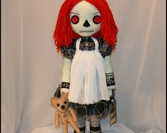 OOAK Hand Stitched Raggedy Ann Inspired Rag Doll Creepy Gothic Folk Art By Jodi Cain Tattered Rags