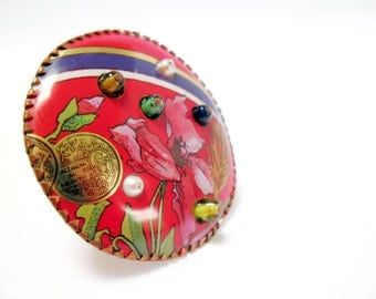 Big beady blossom brooch. Reclaimed tins. Handmade.
