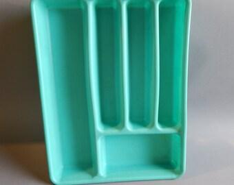 Mid Century Turquoise Silverware Tray / Flatware Drawer Organizer