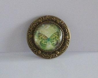 Brosche Cabochon Schmetterling bronze