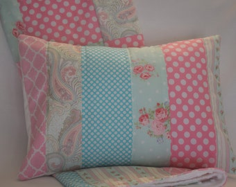 "Roses Floral Quilted Pillow Cover 12""x16"" - Flowers, Polka Dots, Paisley, Rose, Pink, Aqua Blue, Baby Girl, Home Decor"