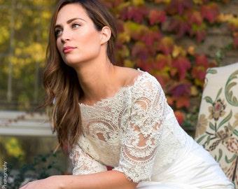 Plus Size Lace Bridal Topper - Plus size Topper - Lace Bridal Bolero - Bianca