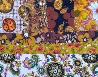 vintage fabric samples - 1970 fabric sample collection - mustard & brown set - 7 pieces
