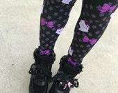 Kawaii Ghost Leggings Tights, Bat Tights, Pastel Goth Tights, Lavender Eyeball Tights