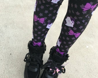 Kawaii Ghost Leggings Tights, Bat Tights, Pastel Goth Tights, Lavender Eyeball Tights