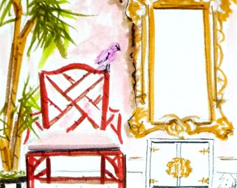 Chinoiserie, Interiors Painting, Art Print of Painting, Faux Bamboo Chair, Pagoda Mirror, Bamboo, Painting of Interior, Pagoda