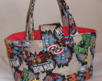 Large Marvel Retro Comic Burst Diaper Bag Tote INTERIOR COLOR CHOICE