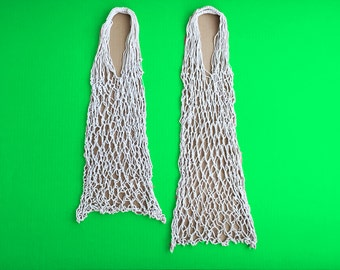 EUROPEAN NET BAG-longer version - cotton, handmade. excellent alternative to plastic bags, must for a conscious shopper