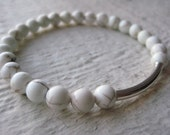 Silver and Howlite Bead Bracelet-  Elastic Stretch Cord, Tube, Beads, Gemstone