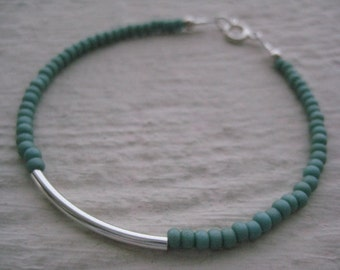 Sterling Silver Bar & Turquoise Seed Beads- Tube, Simple, Gift, Jewelsbyn, Jewelsbynancy, Connector