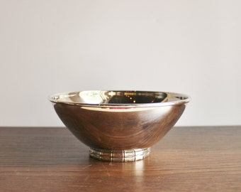 Vintage silver plated bamboo footed bowl