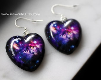 Your Pet Photo Earrings, Custom Pet Portrait Jewelry, Gift Idea for Pet Lover, Bespoke Cat or Dog Galaxy Earrings, Handcrafted by isewcute