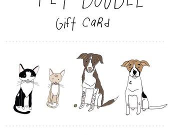 Custom Pet Doodle Gift Card