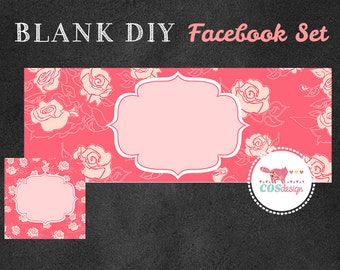 INSTANT DOWNLOAD - DIY Blank Facebook Timeline Cover Set - Premade Facebook Package - Beautiful Pink Roses
