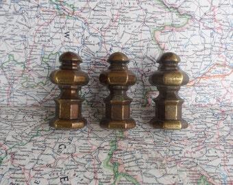 SALE! 3 vintage chunky brass metal knobs