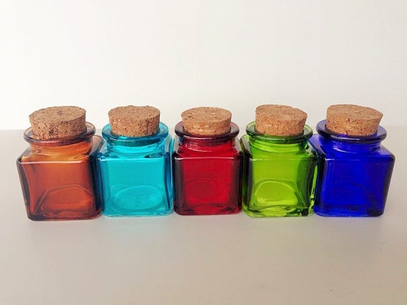 5 colored glass square 1 5 inch jars 2 5 oz by for Colored glass bottles with corks