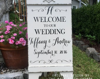 Sandwich Board, WELCOME to our WEDDING, MONOGRAM Wedding Sign, Bride and Groom Signs, A Frame Signs, Self Standing, 37 x 16