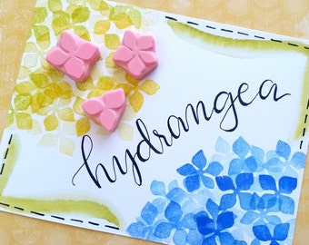 Hydrangea Petals (Set of Three) - Hand Carved Rubber Stamps