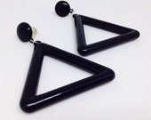 Black Triangle Earrings, Vintage 1990's Dangle Post Earrings, Plastic, Geometric, Costume Jewelry