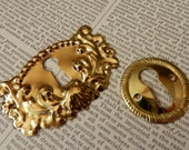 ESCUTCHEONS 2 DETAILED Lightweight Gold Colored Stampings